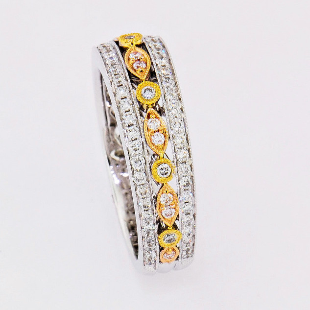 14k tri-color: white, yellow and pink gold .54ct total weight diamond ring