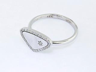 14k white gold .15ct total weight diamond ring