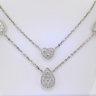 18k White gold 3.18ct total weight diamond necklace