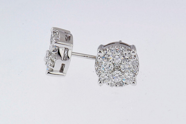 14k white gold 1.54ct total weight diamond stud earrings