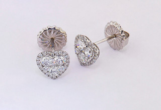 18k white gold 1.31ct total weight diamond heart shaped cluster stud earrings