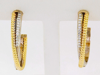 14k two-tone, white and yellow gold .40ct total weight diamond braided hoop earrings
