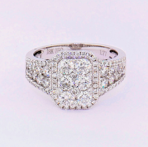 18k white gold 1.77ct total weight diamond cluster ring