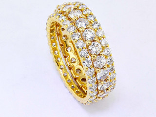 Yellow gold and diamond eternity bands