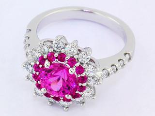 14k white gold, 2.17ct pink sapphire cen