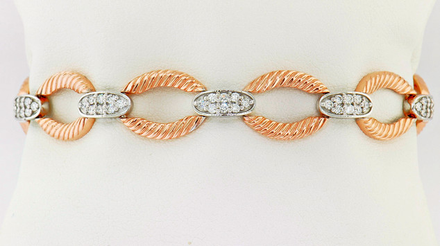 14k two-tone, white and rose gold 1.14ct total weight diamond bracelet
