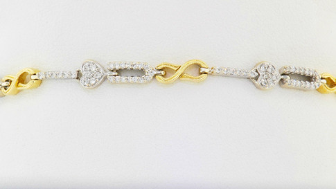 18k white and yellow gold .75ct total weight diamond bracelet