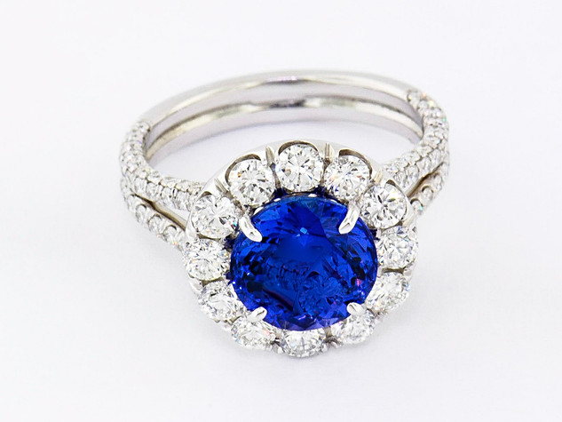 14k white gold 2.50ct total weight diamond setting 3.63ct total weight tanzanite center stone