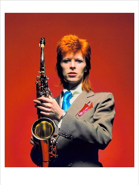 "David Bowie Sax CU Color © Mick Rock, London 1973  11""x14"" $1,500 USD (limited edition of 90)  16""x20"" $2,500 USD (limited edition of 90)  20""x24"" $3,000 USD (limited edition of 50)  24""x30"" $4,700 USD (limited edition of 35)  30""x40"" $8,500 USD (limited edition of 25)  40""x60"" $15,000 USD (limited edition of 10)"