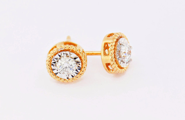 14k yellow gold, .40ct total weight, braided border diamond stud earrings
