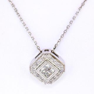 18k white gold .50ct total weight, diamond pendant