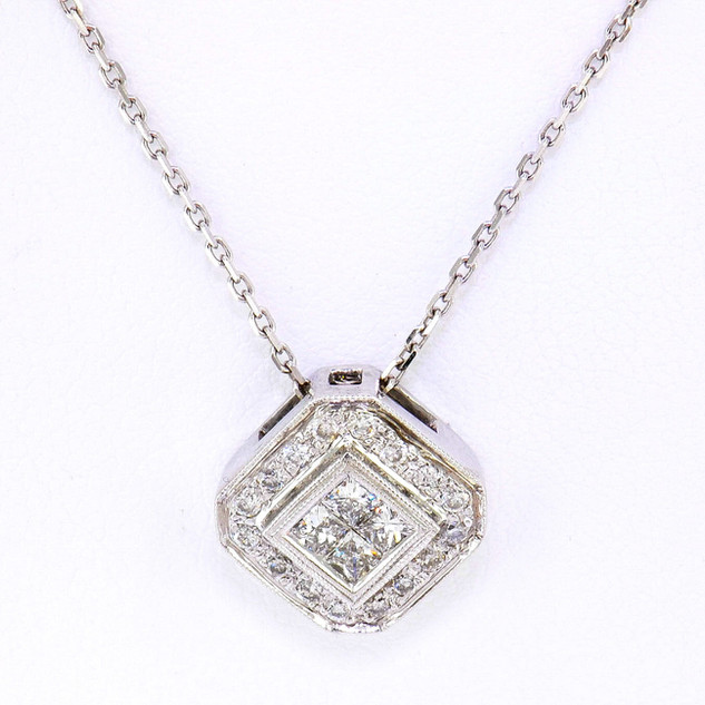 18k white gold .50ct total weight, diamond pendant