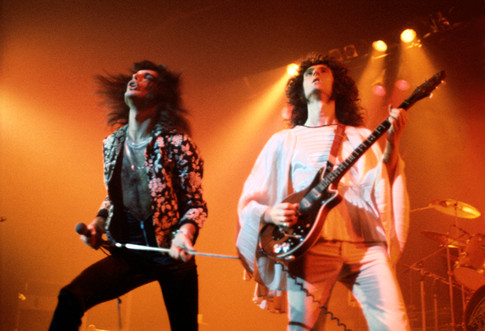"Freddie Mercury Brian May London 1974 © Mick Rock  11""x14"" $1,200 USD (limited edition of 90)  16""x20"" $2,000 USD (limited edition of 90)  20""x24"" $2,500 USD (limited edition of 50)  24""x30"" $4,000 USD (limited edition of 35)  30""x40"" $7,000 USD (limited edition of 25)  40""x60"" $12,000 USD (limited edition of 10)"