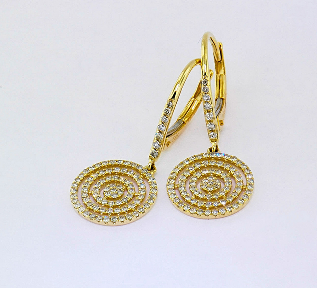 14k yellow gold .41ct total weight diamond earrings
