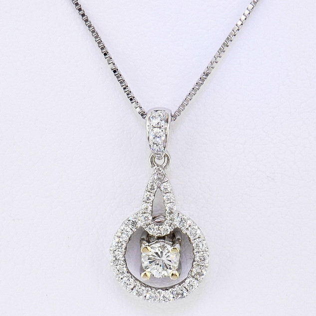 18k white gold .40ct total weight diamond pendant