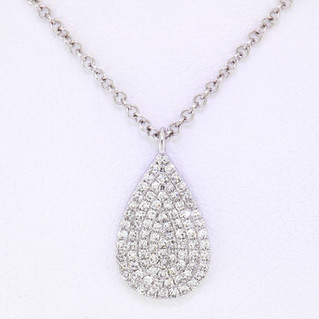 14k white gold .19ct total weight, diamond tear drop pendant