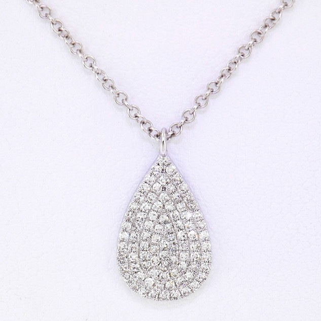 14k white gold .19ct total weight, diamond tear drop pendant