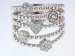 14k white gold .25ct total weight, multi shape diamond ring