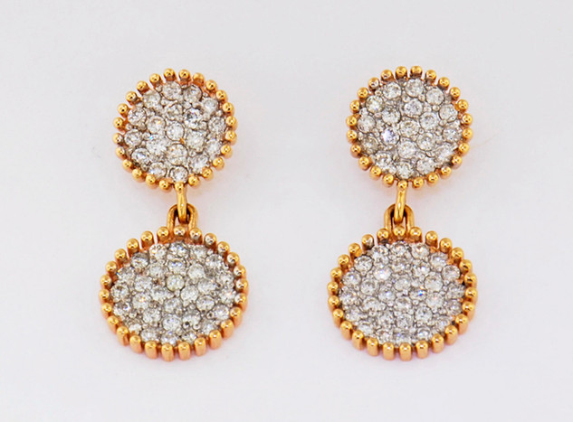 14k two-tone, white and rose gold 1.33ct total weight diamond earrings