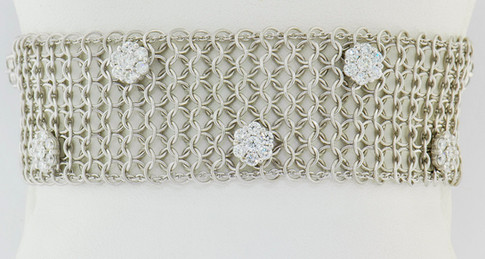 14k white gold 2.43ct total weight diamond cluster, chain link bracelet
