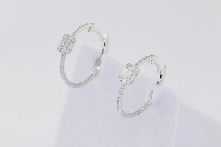 14k white gold, .43ct total weight baguette/round diamond, micro pavé and invisible set earrings.