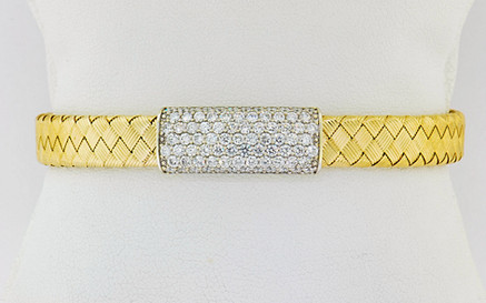 14k two-tone, white and yellow gold 2.01ct total weight diamond bracelet
