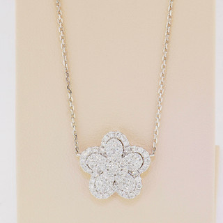 18k white gold, .74ct total weight round, micro pavé necklace.
