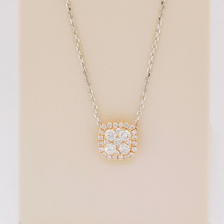 18k two-tone, rose and white gold, .43ct total weight diamond necklace