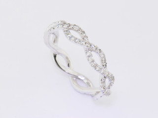 14k white gold, .93ct total weight micro pavé diamond ring