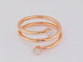 14k rose gold, .22ct total weight round diamonds, prong set stone ring