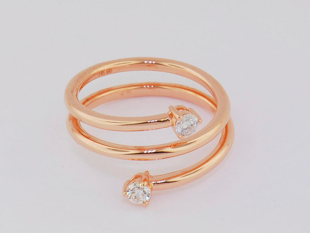 14k rose gold, .22ct total weight round diamonds, prong set stone ring