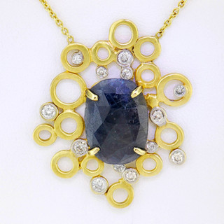14k gold .60ct total weight diamond necklace with sapphire center stone