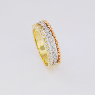 14k tri-color, .45 total weight bezel set and prong set ring.
