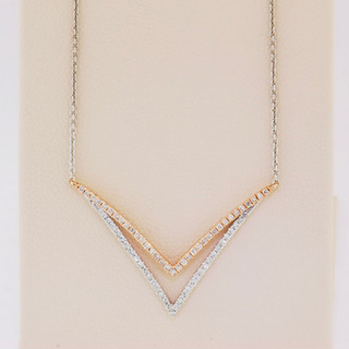 14k two-tone white and pink gold, .20ct total weight round diamond, micro pavé neckalce.