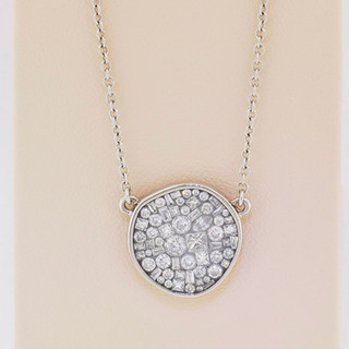 18k white gold, .95ct total weight diamond pendant