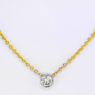 14k yellow gold .20ct total weight, diamond bezel necklace