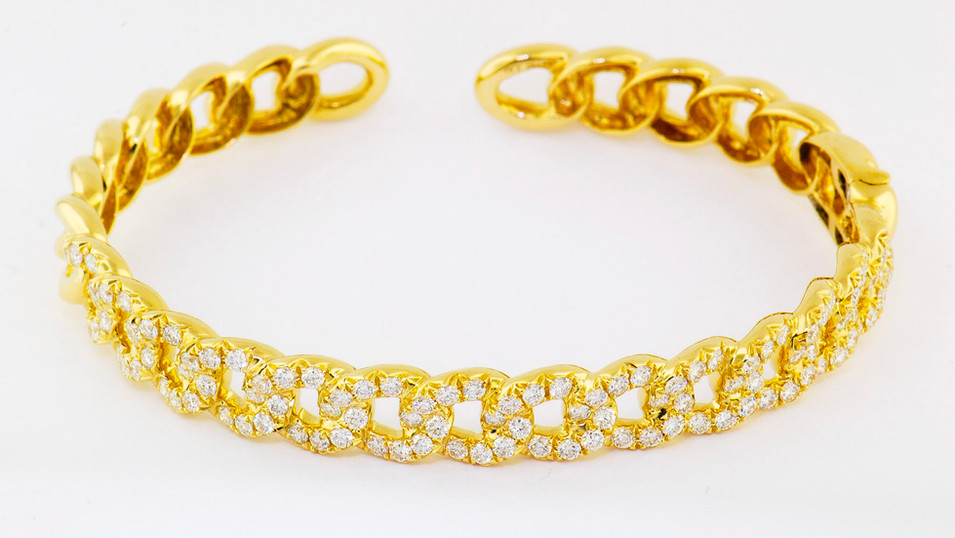 14k yellow gold 4.94ct total weight diamond link bracelet