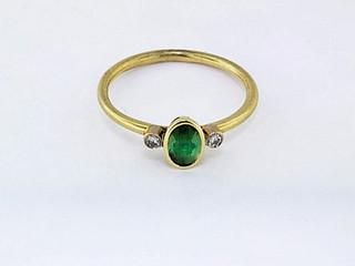 14k yellow gold .08ct total weight diamond, .51ct total weight green tourmaline ring