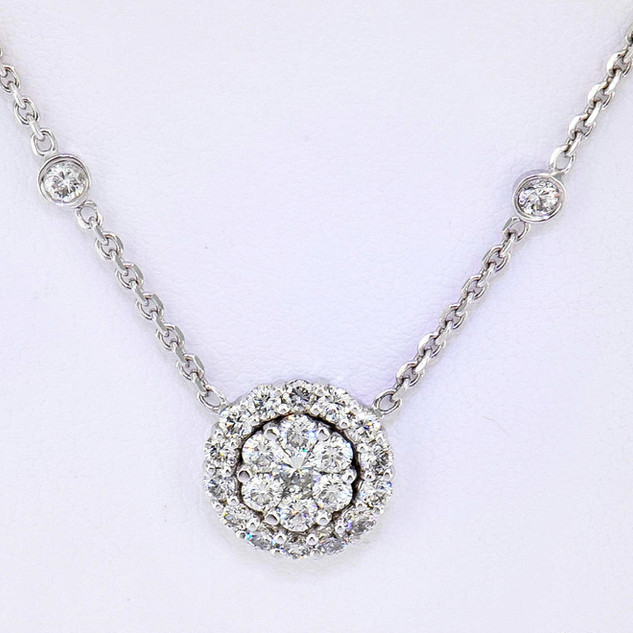 14k white gold 1.10ct total weight diamond necklace