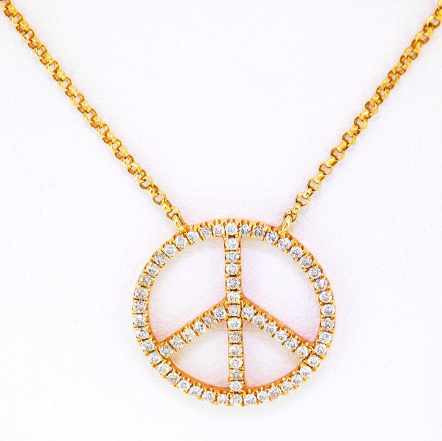 18k rose gold .30ct total weight, diamond peace pendant