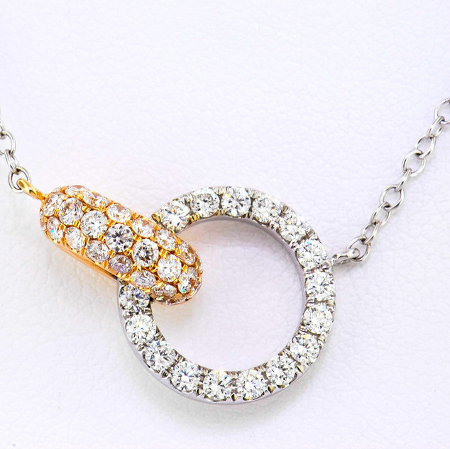 18k two tone, pink and white gold .90ct total weight, diamond necklace