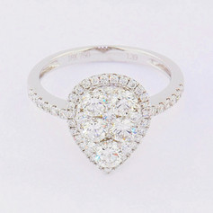 18k white gold, 1.39ct total weight, micro pave and invisible set diamonds