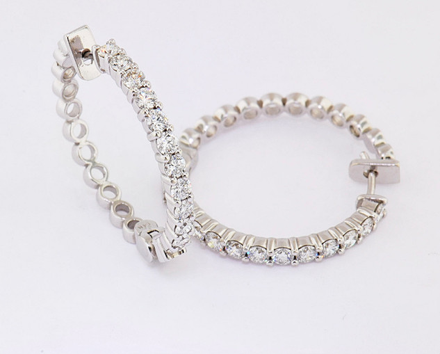 14k white gold 2.40ct total weight, diamond hoop earrings