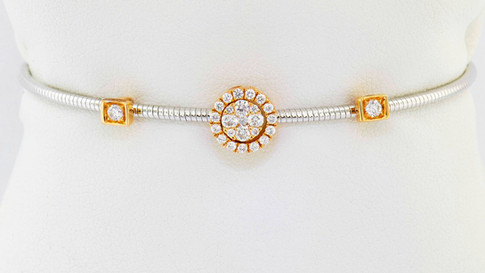 18k two-tone, white and rose gold .36ct total weight diamond bracelet