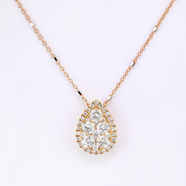 14k rose gold .61ct total weight diamond necklace
