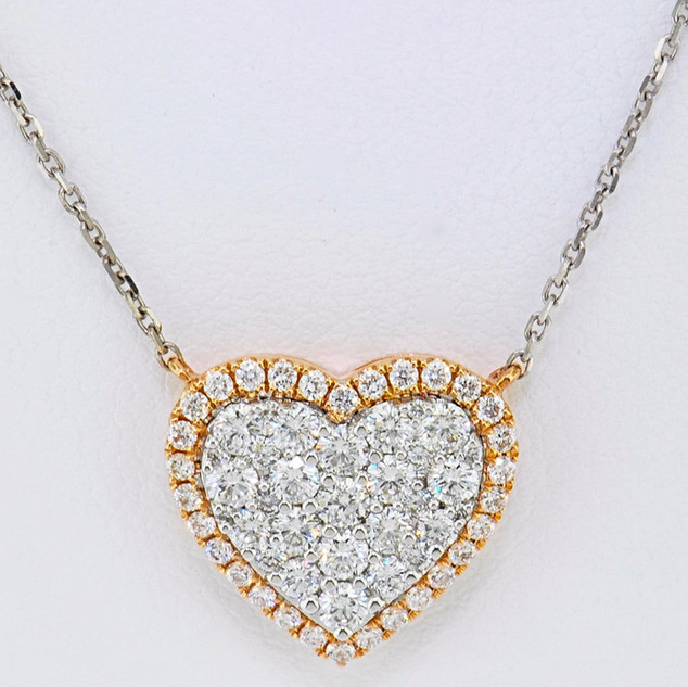 18k two-tone, white and rose gold .94ct total weight diamond heart necklace