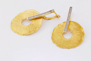 14k two-tone, white and yellow gold .32ct total weight diamond earrings