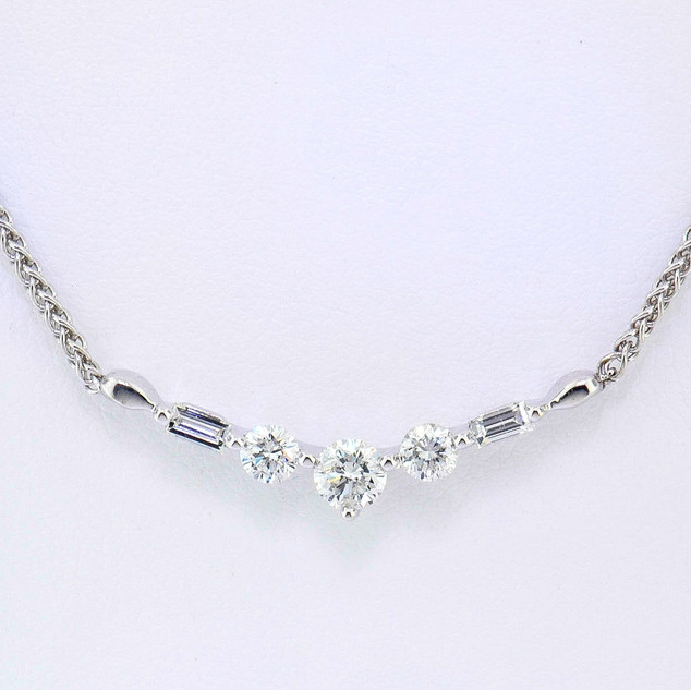 14k white gold .60ct total weight, diamond necklace