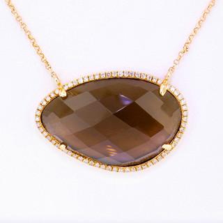 14k rose gold .19ct diamond total weight, smokey topaz center stone