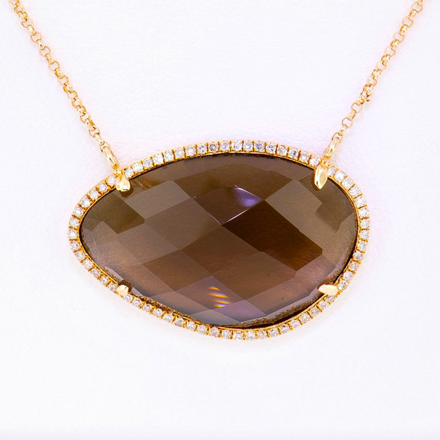14k rose gold .19ct diamond total weight, smokey topaz center stone